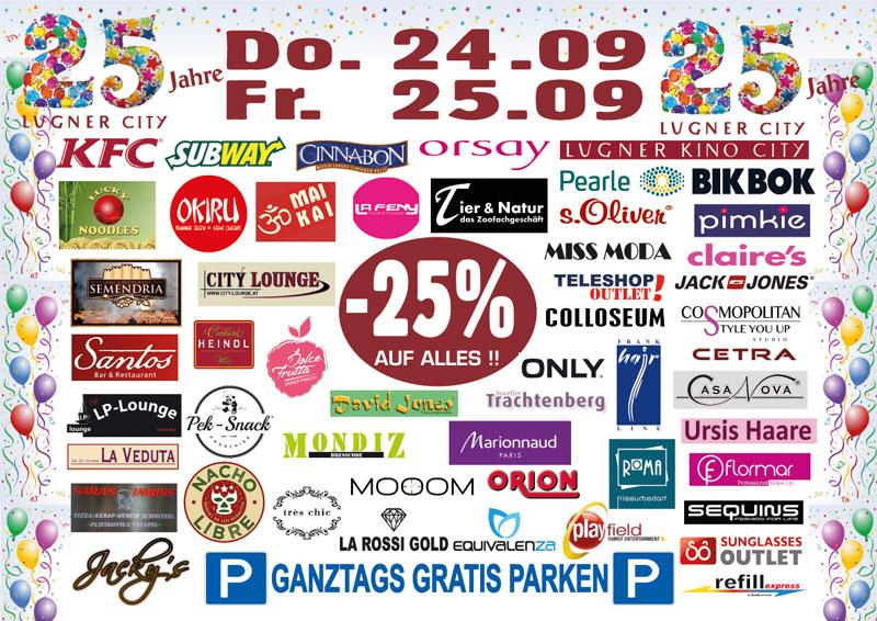 25 Jahre Lugner City 25 Rabatt In Vielen Shops Am 24 U 259